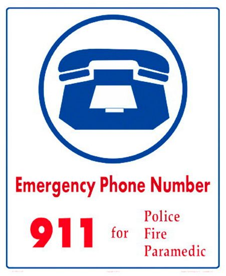6010WS1012E: EMERGENCY NUMBERS SIGN 6010WS1012E
